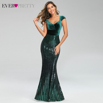 Sexy Sparkle Evening Dresses Ever Pretty EP00782 V-Neck Sequined Sleeveless Striped Velour Mermaid Party Gown Vestito Donna 2020 - discount item  45% OFF Special Occasion Dresses