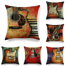 Daily living room sofa cushion decoration oil painting guitar home soft decorative pillow case linen pillow case throw pillows