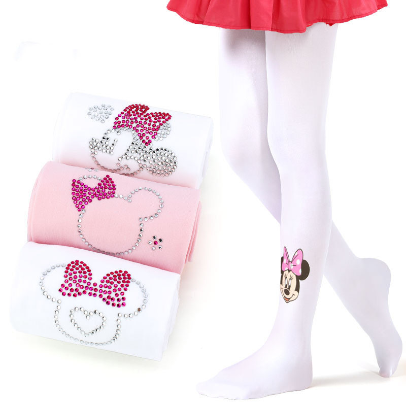 Disney Pantyhose Girl Stockings Spring Summer White Diamond Hello Kitty Cat Tights For Girls Thin Children Pantyhose 3pcs/lot