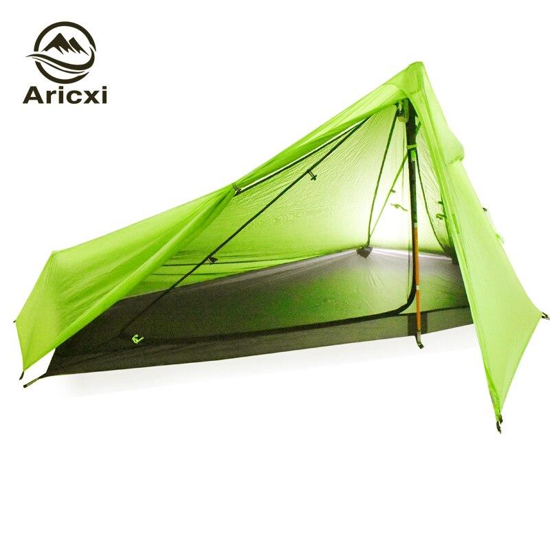 Tente de Camping ultralégère Oudoor 3 saisons 1 personne professionnelle 20D Nylon 1 face revêtement en silicone tente sans fil