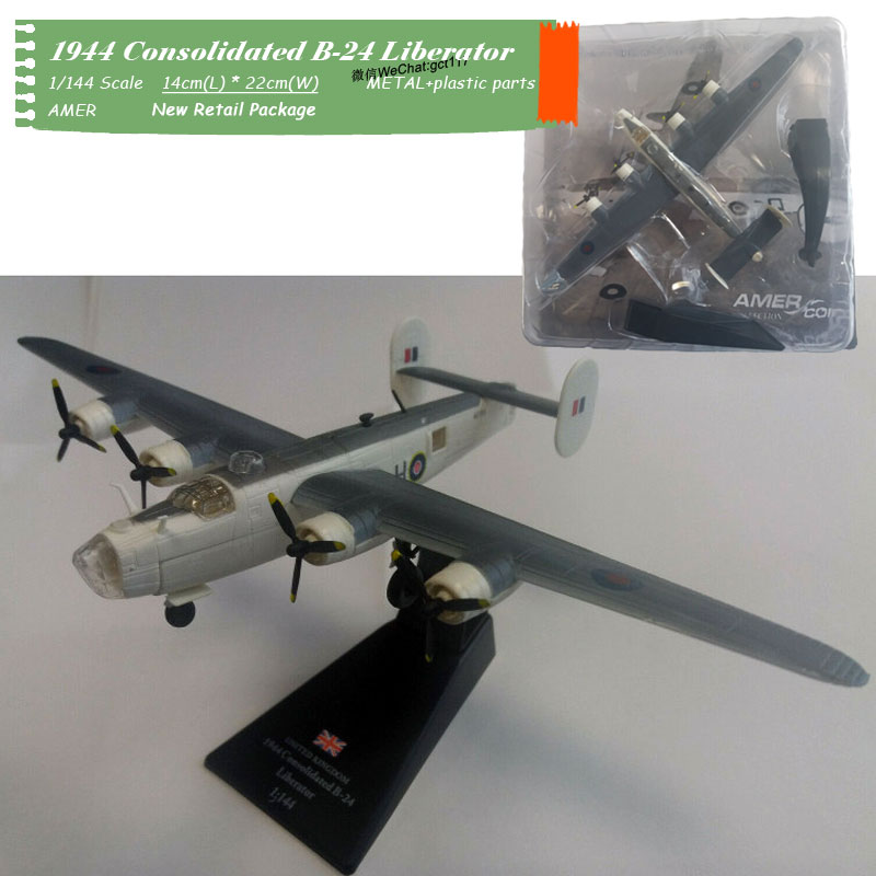 AMER 1/144 Scale World WarII B-24 Liberator Bomber Fighter Diecast Metal Plane Model Toy For Gift,Collection,Kids,Decoration