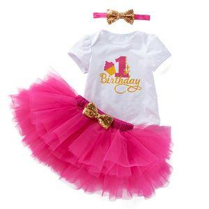 Conjuntos de ropa de verano para niños y niñas, monos de manga corta, 1ª falda de tutú, ropa de cumpleaños, 3 piezas, ropa de 0 a 2 años
