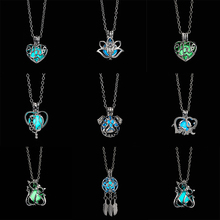 Rinhoo 1PC Creative Alloy Hollow Cat Elephant Animal Pendant Necklace Glow in the Dark For Women Men Fashion Jewelry Gift silver link luminous stone pendant necklace long chain moon pendant glow in dark hollow women necklace pendants jewelry