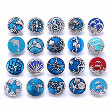 10pcs/lot Snap Button Jewelry Blue Ocean Series Crystal Dolphin Sea 18mm Metal Snap Jewelry Fit DIY Snap Bracelet Bangle Necklac 6pcs lot 2019 new snap jewelry mixed colorful rhinestone crystal 18mm snap button jewelry fit snap bracelet diy charms jewelry