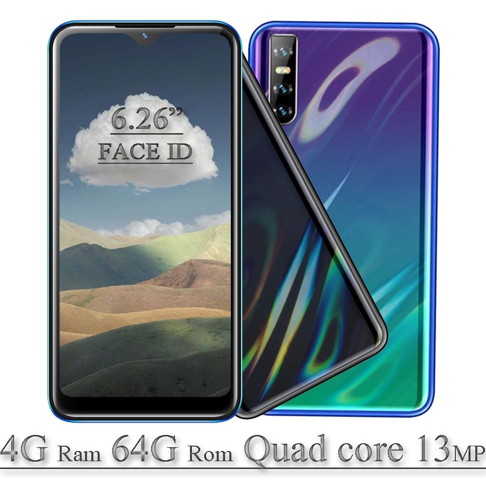4G Оперативная память Мобильный телефон 8A 6,26 дюйма 64G Встроенная память Android 13mp Камера капли воды Full HD Экран 4 ядра Face ID разблокирована смартфо...