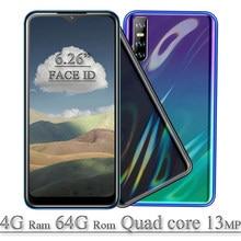 Teléfono Inteligente desbloqueado 4G RAM, 8A, 6,26 pulgadas, 64G ROM, Android, cámara de 13mp, gota de agua, PANTALLA Full HD, Quad Core, identificación facial