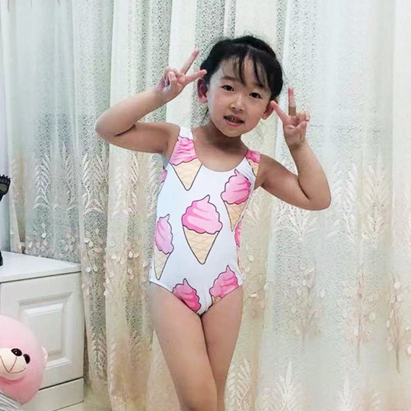 2019 New Style Triangular One-piece Girls Ice Cream Cartoon One-piece Swimming Suit Currently Available Manufacturers Direct Sel