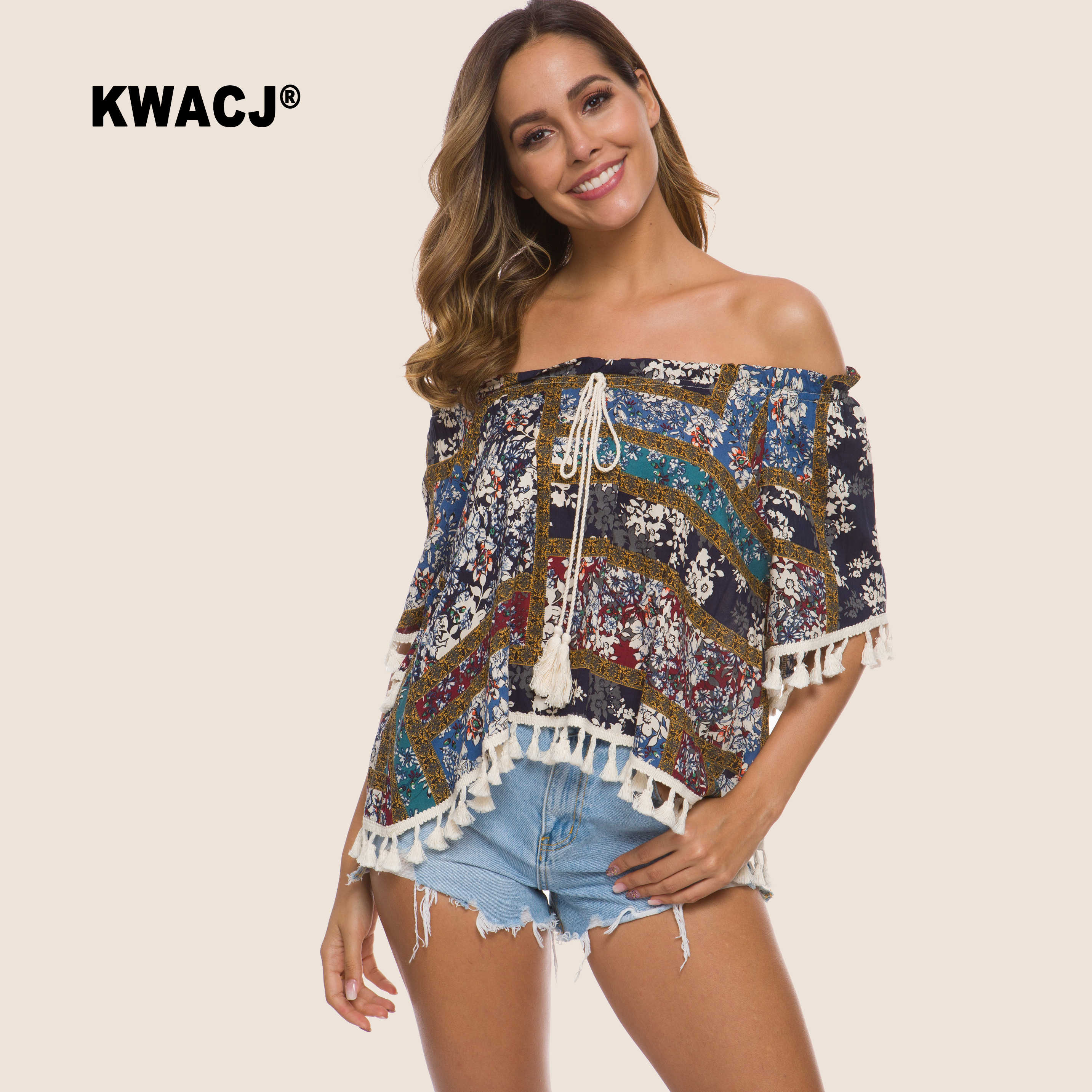 KWACJ Off Shoulder Top Tassel Split Hem Blouse Women Boho Clothing Short Sleeve Summer Sexy Corp multicolour Tops Becah Casual