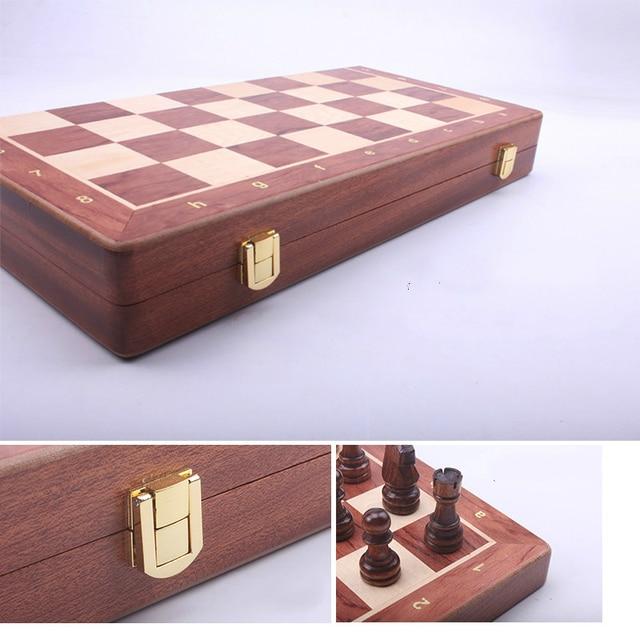 Jeu d'échecs pliant en bois noyer et noyer, grand jeu d'échecs de haute qualité, pièces en bois massif, taille roi : 8CM plateau 39 cm 5