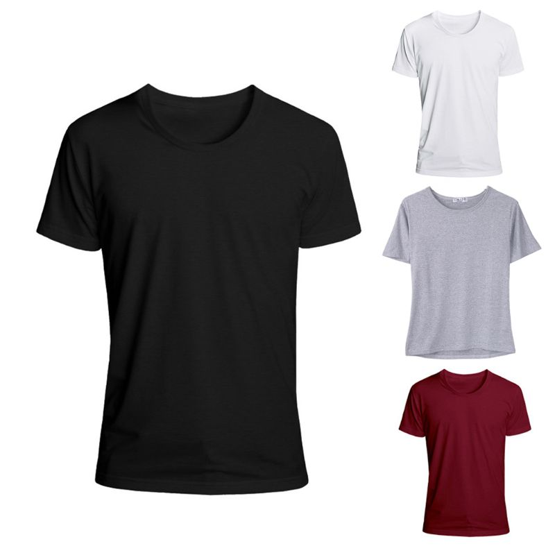 4 Colors Men's Trendy Short Sleeve T-Shirts  Classic Basic Solid Color Workout Sports Casual Slim Fit O-Neck Pullover Tops