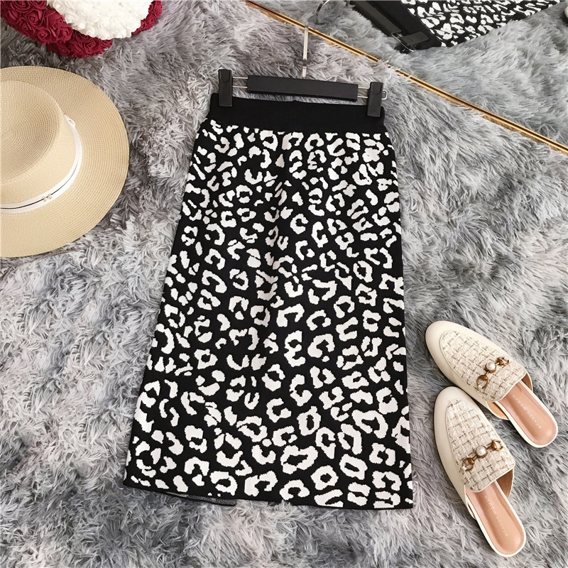 Autumn Winter Ol Elegant Skirt Women 2019 Womens High Waist Knit Leopard-print Split Lady Slim Stretch Skirt Female Skirts