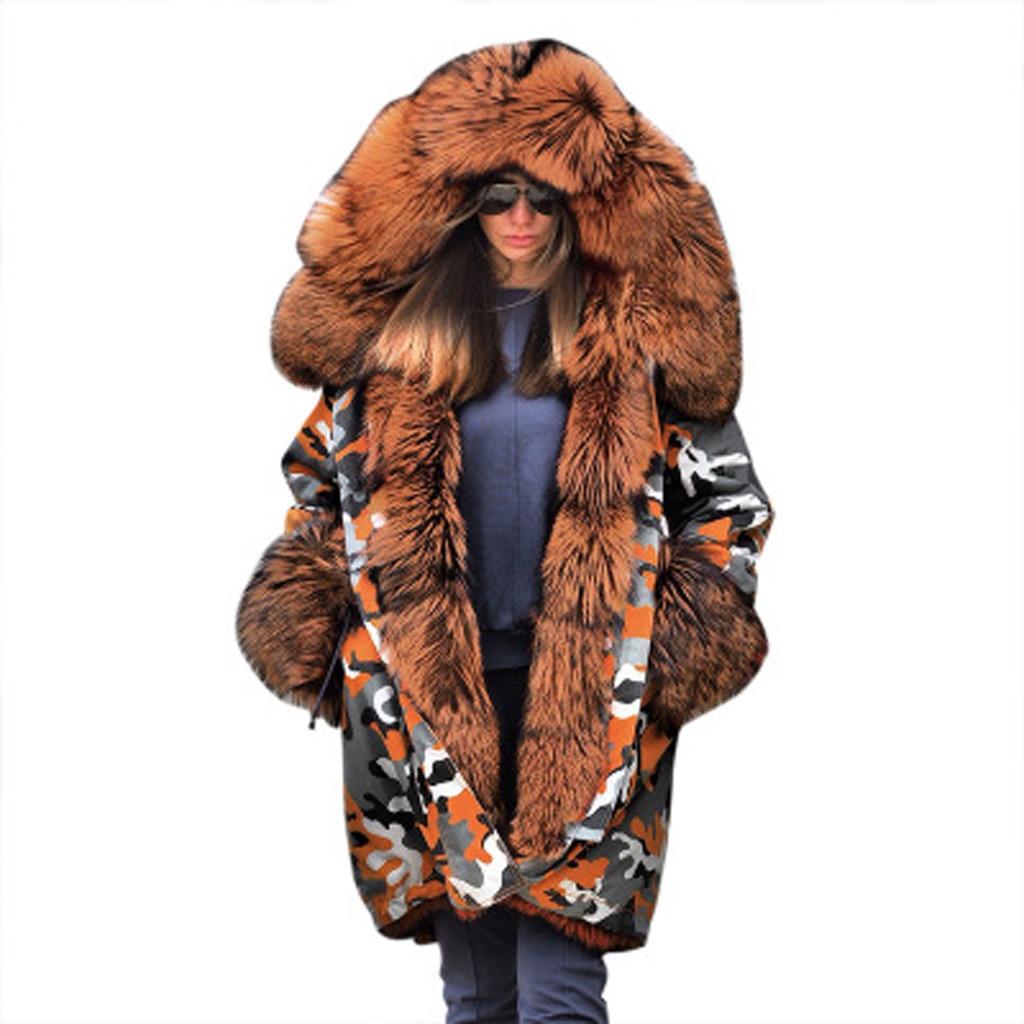 Véritable nouveau manteaux femmes fourrure floue Camouflage sweat à capuche chaud hiver veste coupe-vent Outwear épais mode nouveau manteau femmes 2020