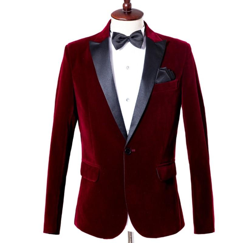 Пиджак для мужчин деловой джентльмен костюм куртка с одной пряжкой Свадебный банкет мужской костюм пиджак Slim Fit Мужской Блейзер официальна...