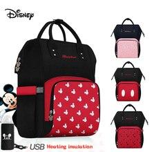 Mochila Disney para pañales, mochila con aislamiento de botellas USB, bolsas de viaje de gran capacidad de Minnie Mickey, bolsa de pañales para mamás para alimentación de bebé de Oxford