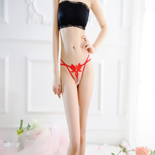 Sexy Crotchless Faux Pearl Lace Bowknot Women Thongs Briefs Panties G-String M L XL XXL Size(China)