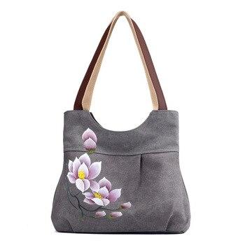 Ougger Medium Women Handbag 2019 Shoulder Bags Gray Canvas National Casual Tote with Ruffles for Shopping