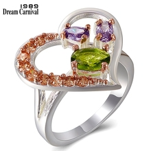 DreamCarnival 1989 Women Love Hearts Wedding Rings Colorful Zircon Party Must Have Gift Top Quality Jewelry Brand Unique WA11707