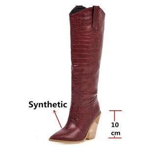 Image 3 - FEDONAS مثير الإناث الجلود الاصطناعية الغربية أحذية الشتاء النساء حذاء برقبة للركبة ليلة نادي أحذية امرأة كبيرة الحجم حذاء بكعب سميك