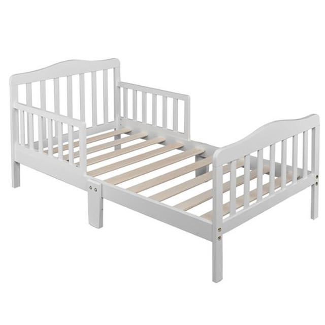 Wooden Baby Toddler Bed Children Bedroom Furniture with Safety Guardrails White 1