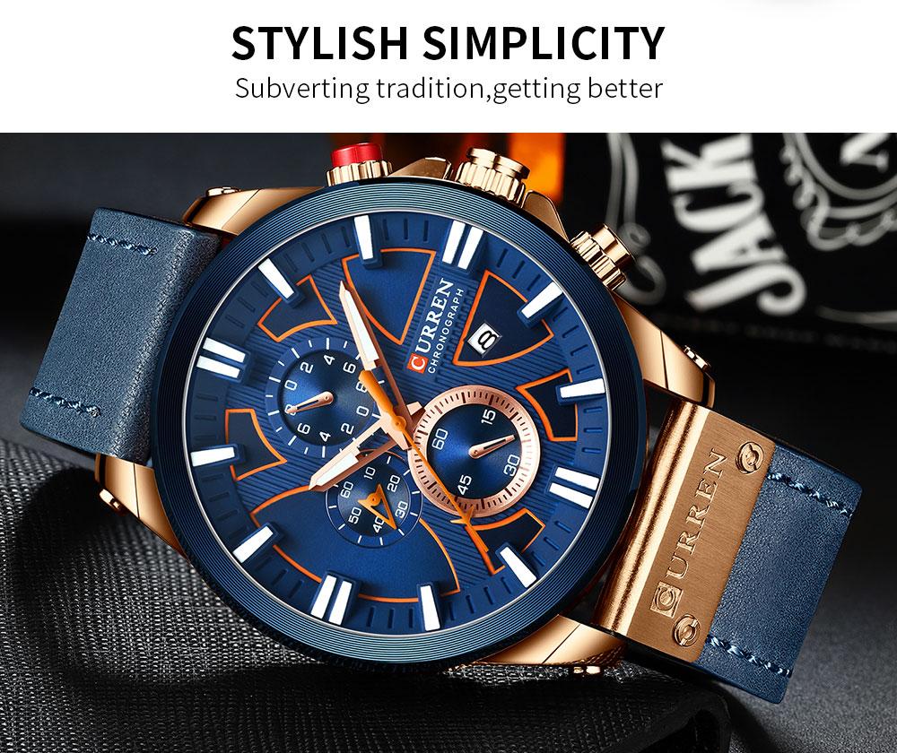 H384c58682d4443efbe21589571d4f9219 CURREN  Brand Luxury Men Watch Leather Quartz Clock Fashion Chronograph Wristwatch Male Sport Military 8346 Relogio Masculino