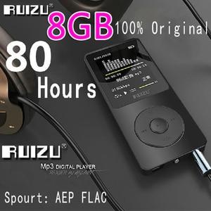 Image 1 - 100% מקורי RUIZU X02 MP3 נגן עם 1.8 אינץ מסך יכול לשחק 100 שעות, 8gb עם FM, ספר אלקטרוני, שעון, נתונים