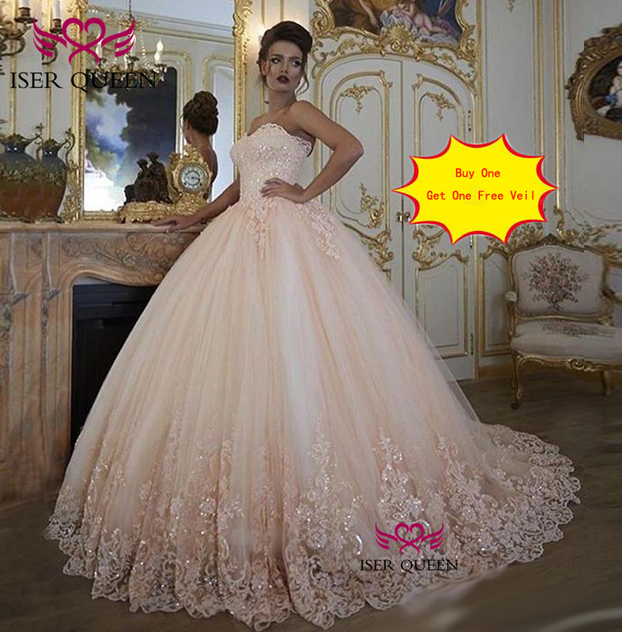 Ball-Gown Wedding-Dresses Appliques Embroidered Champagne Sequined Tulle Lace-On Net