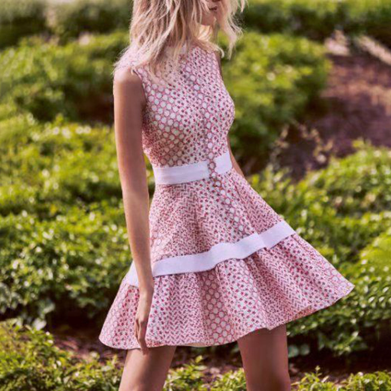 Australia Popular Brand 2020 Spring New Style Fashion Stand Collar Sleeveless Printed Joint Contrast Color Embroidered Dress