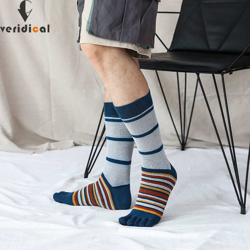 VERIDICAL Large Size Combed Cotton Five Finger Socks Man 5 Pairs/lot Striped Business Compression Party Dress Crew Toe Socks