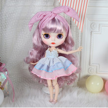 1/6 19 Joints Blythe Doll Makeup BJD Dolls with Full Clothes - Pink Blue Curly Hair Matte Face(China)