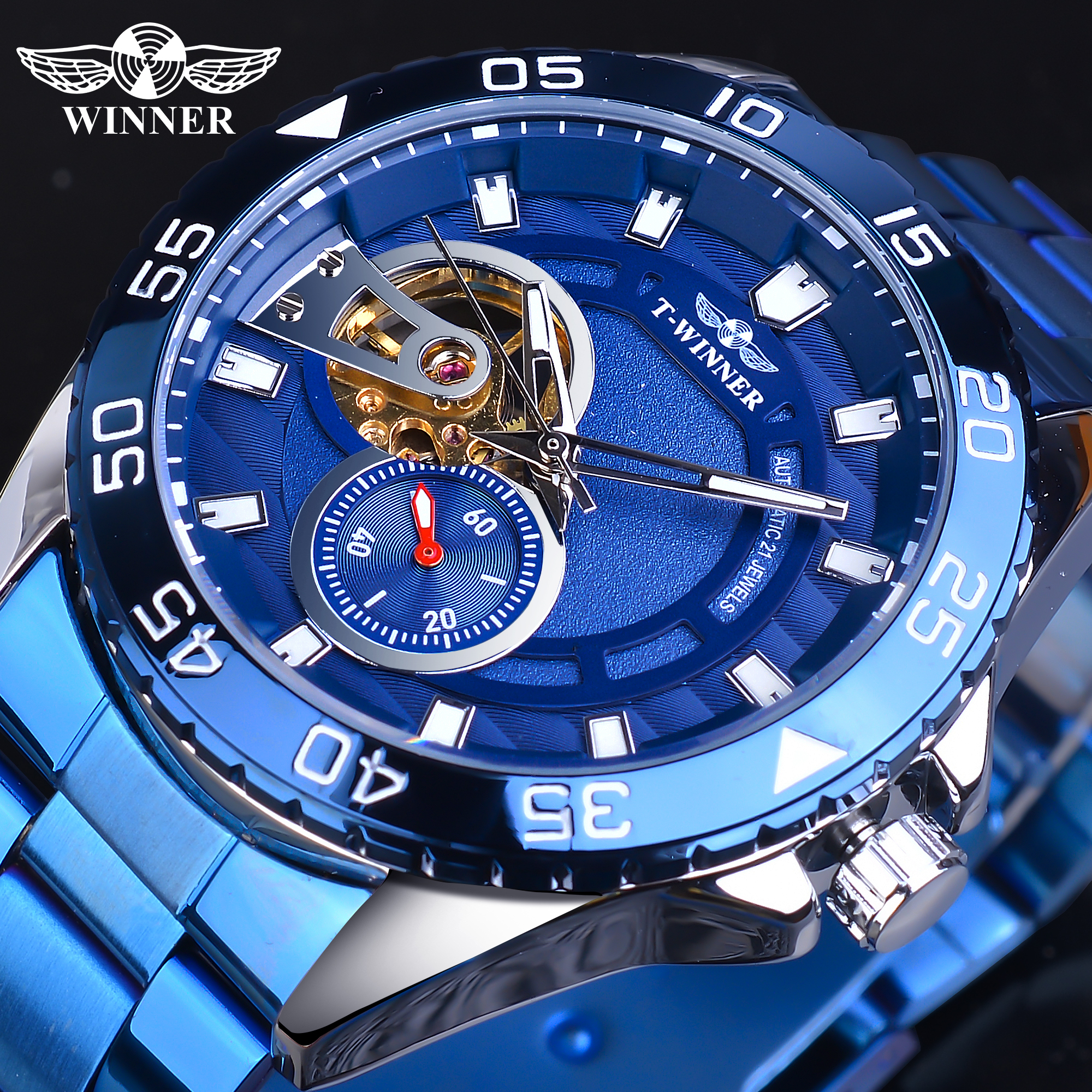 Winner 2020 Design Golden Half Skeleton Blue Stainless Steel Mens Business Sport Automatic Mechanical Watches Top Brand Luxury