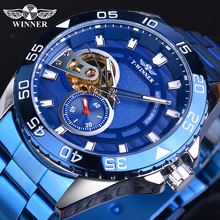Winner 2020 Design Golden Half Skeleton Blue Stainless Steel Mens Business Sport Automatic Mechanical Watches Top Brand Luxury цена и фото