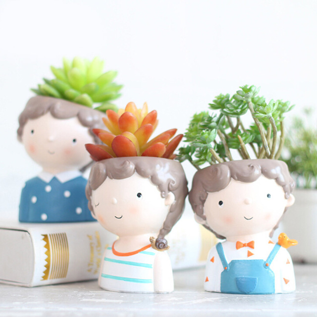 Mini Cute girl boy Planter Flower Pot Home Garden Home Decoration Flowerpot Planter Desktop Vase Home Office Bonsai Pot 4