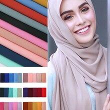 75*175cm muslim bubble chiffon hijab scarf for women femme musulman plain shawls and wraps islamic headscarf malaysia