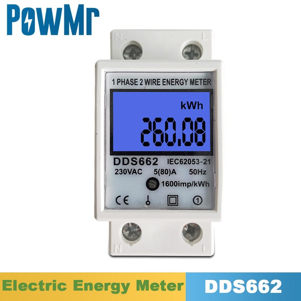 Однофазный Электрический измеритель расхода энергии 80 А, 35 мм, 220 В, 230 В, 50 Гц, 60 Гц