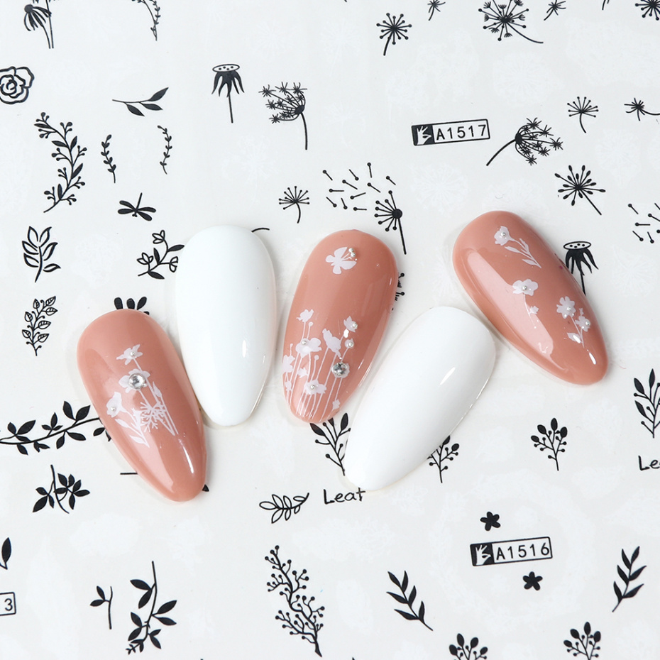 Image 5 - 12pcs Nail Sticker Water Transfer Decals Letter Flower Autumn Sliders For Nail Art Decoration Manicure Foil Waps LAA1513 1560 1-in Stickers & Decals from Beauty & Health