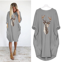Plus Size Pocket Christmas Dress Womens O Neck Autumn Winter Female Leisure Comfortable Dresses Prom Reindeer Elk Xmas Party 5