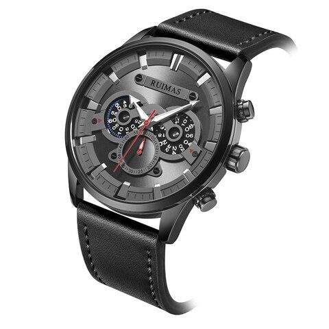 Superior dos Homens Relógio de Pulso um à Prova Marca Relógio Militar Quartzo Inoxidável Preto Couro Três Olhos Qualidade Dwaterproof Água Redondo Reloj Hombre