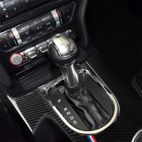 Carbon Fiber Gearshift Panel Water Cup Holder Cover for Ford Mustang 2015 2017 Interior Decoration Car Accessories Sticker LHD