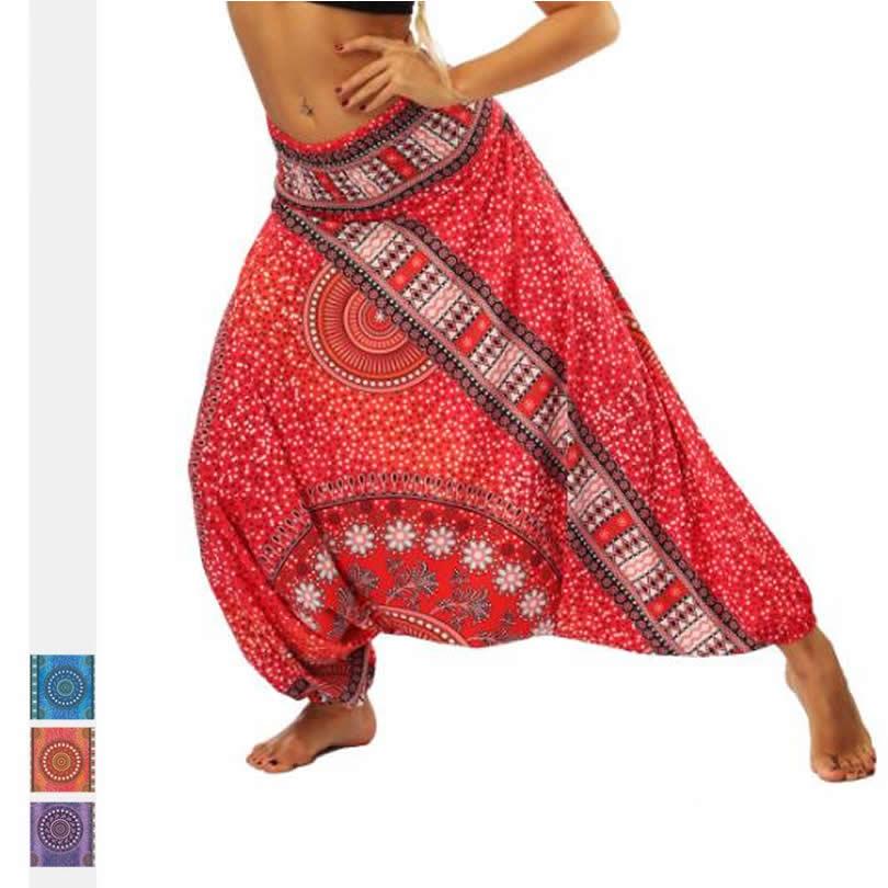 Women Casual Summer Loose Trousers Baggy Boho Aladdin Harem   Pants   Elastic Waist Plus Size   Wide     Leg     pants