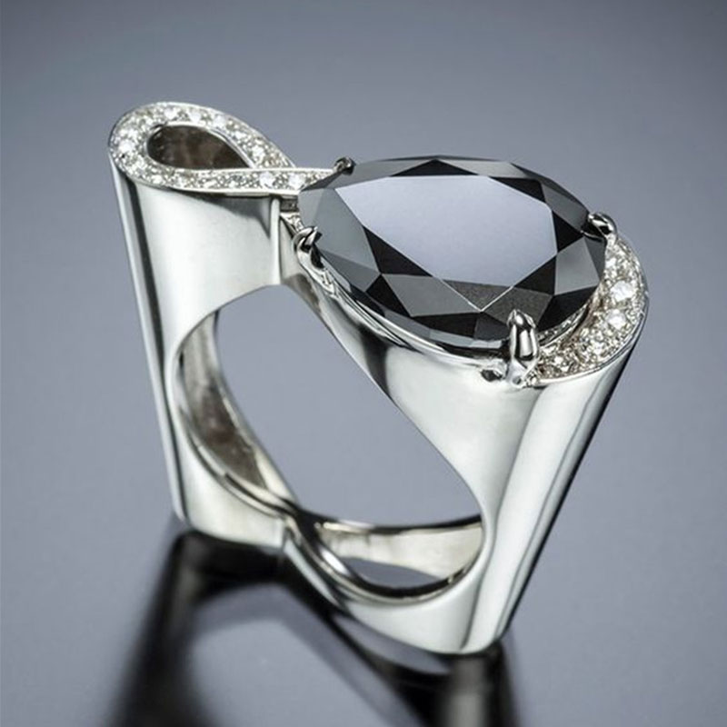FDLK    Glamour Jewelry Fashion Black Zircon Women's Ring Girls Party Accessories Engagement Wedding Ring Lover Gift