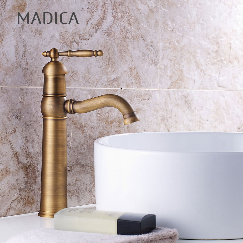 Madica Bathroom Antique Bronze brass Faucet Tall Vessel Sink Faucets Mixer Hot and Cold Water Tap Antique Bronze Finished
