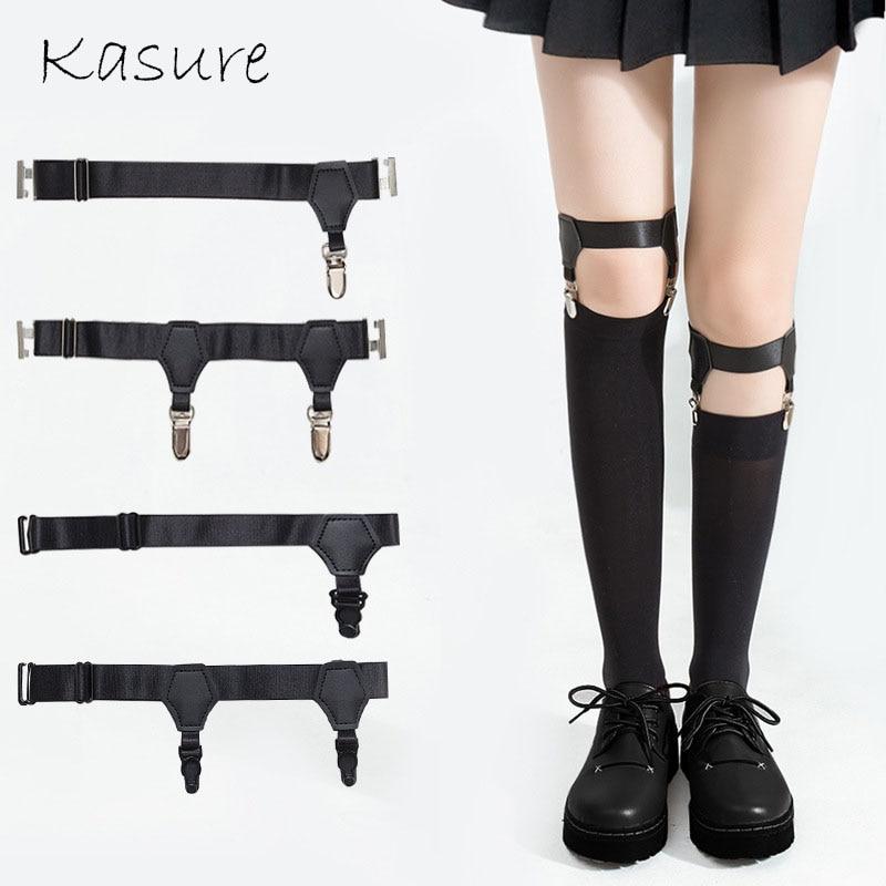 KASURE 1pc Hurajuku Adjustable Elastic Garter Belt Multi Style PU Leather Punk Leg Ring Harness Bondage Belts