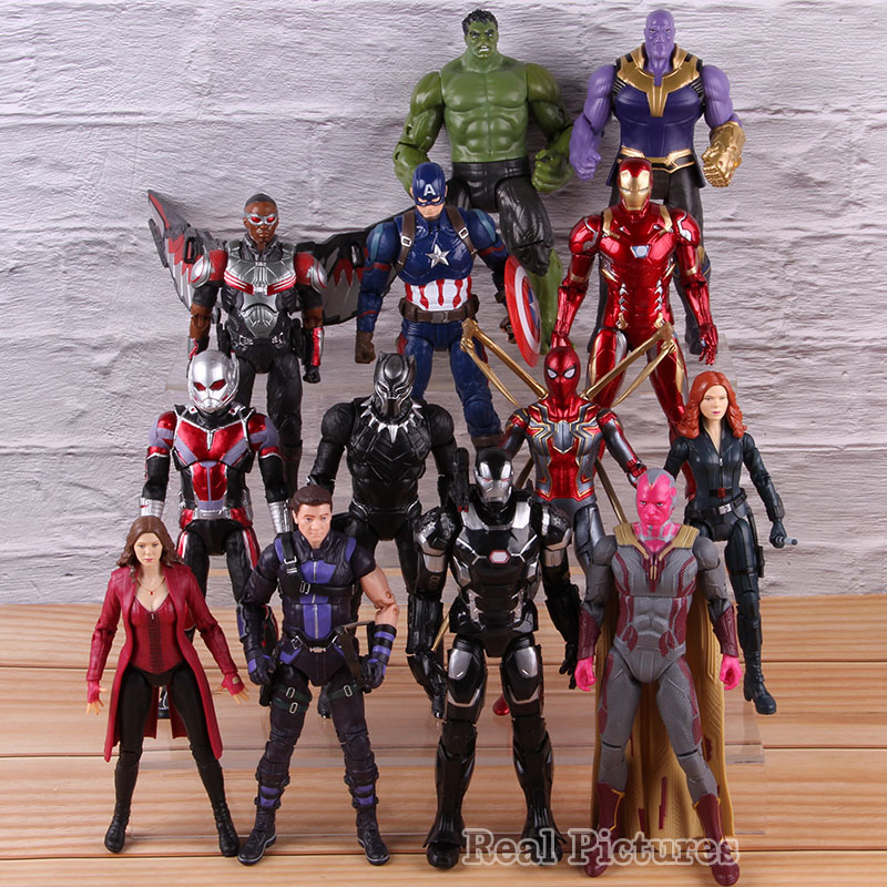 Captain America PVC Collectible Action Figure Black Window Hawkeye Superhero Ironman Thanos Scarlet Witch Marvel Avengers Toy