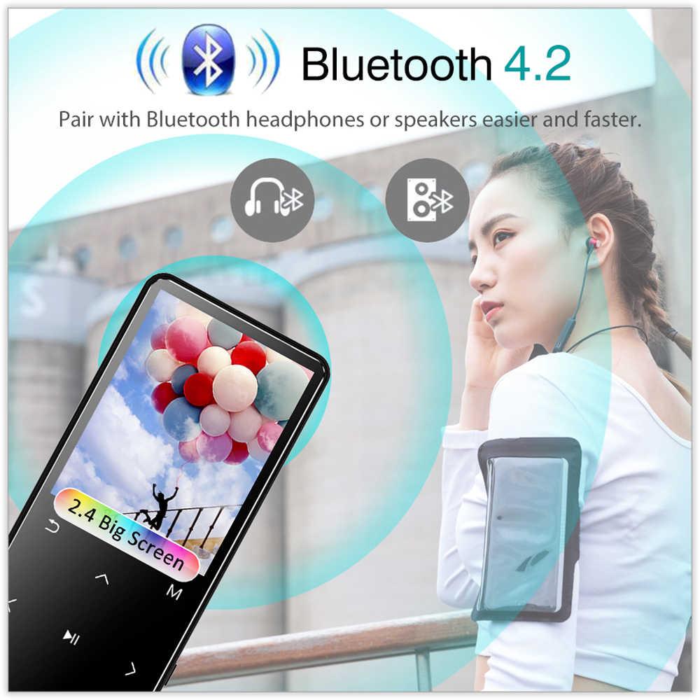 REDANT Odtwarzacz MP4 z radiem FM Bluetooth wbudowany głośnik klawisze dotykowe 8GB 16GB 32GB 40GB MP 4 odtwarzacz muzyczny HiFi dla dzieci