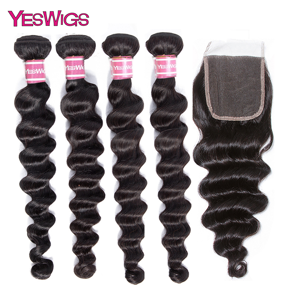 Yeswigs Loose Deep Wave Bundles With Closure 3 Bundles With Lace Closure Malaysian Human Hair Weave With Frontal