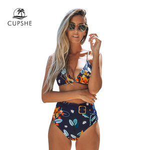 Image 4 - CUPSHE Navy and Orange Abstract Floral Print Bikini Sets Sexy Belt Swimsuit Two Pieces Swimwear Women 2020 Beach Bathing Suits