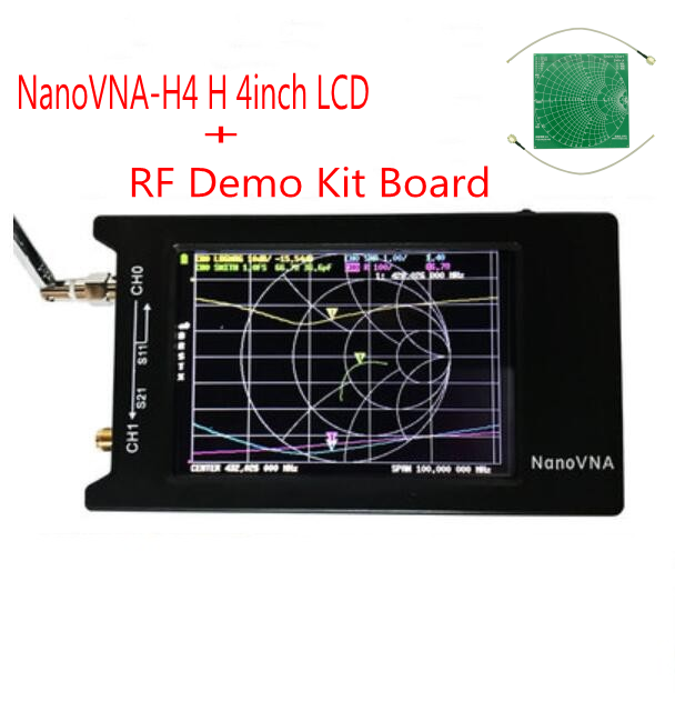 NanoVNA-H4 H 4inch LCD/VNA Vector Network Analyzer +battery Original Hugen HF VHF UHF Antenna Analyzer +   RF Demo Kit Board