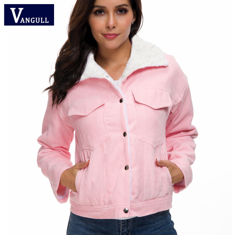 H384dcac550364297844076d8810677ddn VANGULL Women Winter Jacket Thick Fur Lined Coats Parkas Fashion Faux Fur Lining Corduroy Bomber Jackets Cute Outwear 2019 New