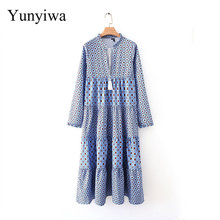 2020 Women's New Layered Printed Long Dress Casual