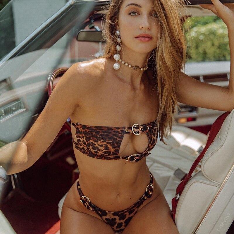 Brazilian Leopard Bikini Swimsuit Sexy Bikinis 2020 Mujer Bathers Bandeau Swimwear Women Bathing Suit Push up Swimsuit Female